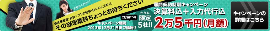 [顧問契約特別キャンペーン]限定5社/決算量込+入力代行込 2万5千円(月額)|キャンペーン期間:2013年8月31日まで